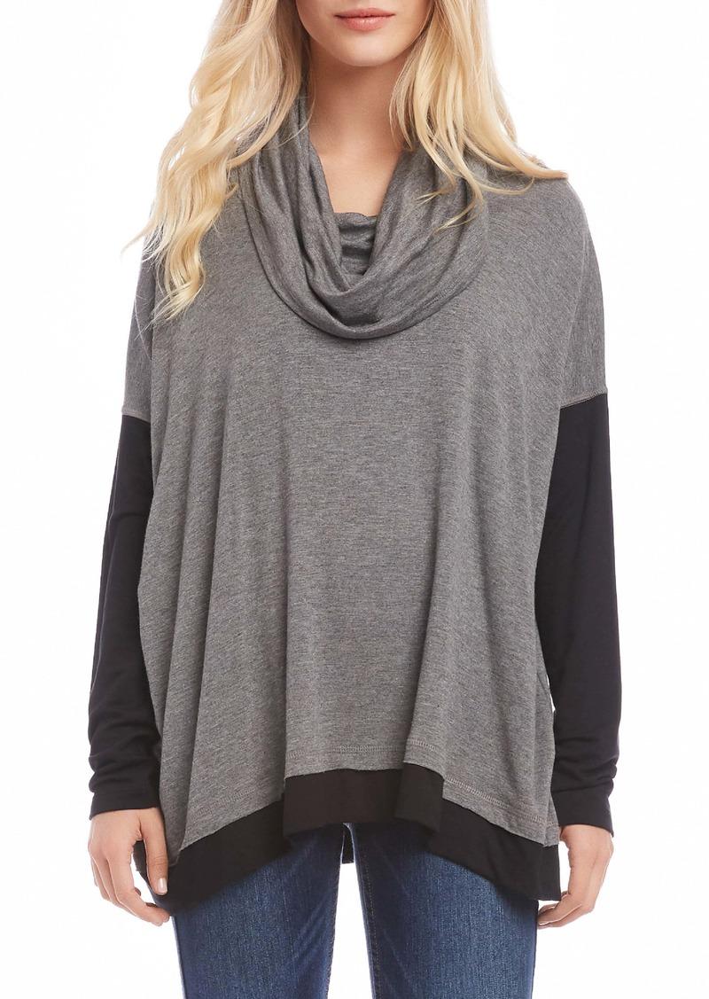Karen Kane Colorblock Cowl Neck Long Sleeve Top