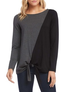 Karen Kane Colorblock Tie Front Top