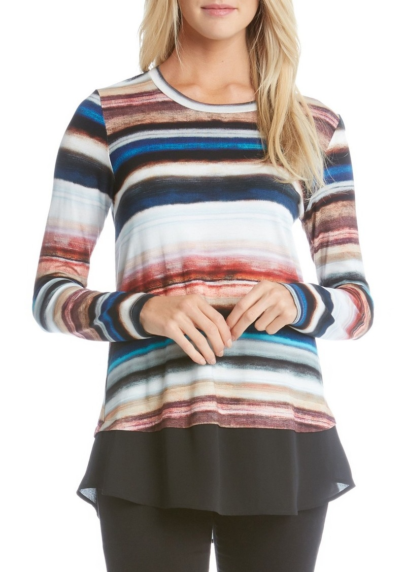 Karen Kane Contrast Hem Stripe Top