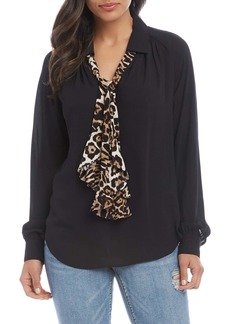 Karen Kane Contrast Tie Long Sleeve Top