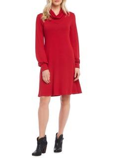 Karen Kane Cowlneck A-Line Sweater Dress