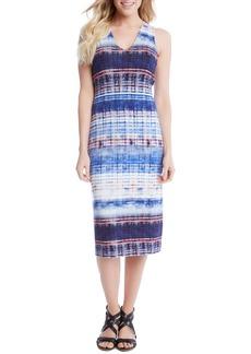 Karen Kane Distressed Stripe Knit Midi Dress