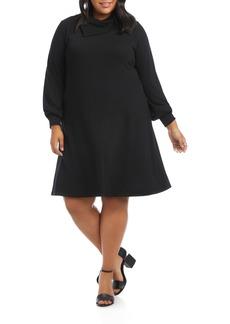 Karen Kane Drape Neck Long Sleeve Dress (Plus Size)