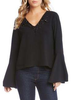 Karen Kane Embellished Bell Sleeve Top