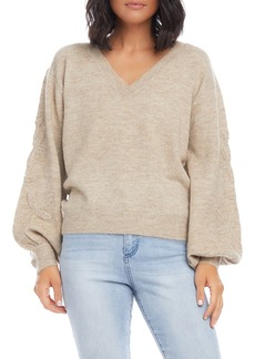 Karen Kane Embroidered Blouson Sleeve Sweater