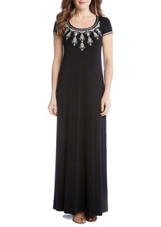 Karen Kane Embroidered Cap Sleeve Maxi Dress