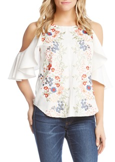 Karen Kane Embroidered Cold Shoulder Ruffle Top