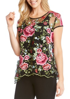 Karen Kane Embroidered Flare Top
