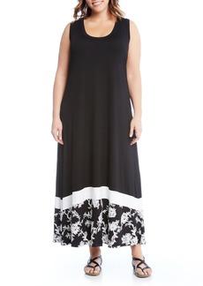 Karen Kane Embroidered Hem Maxi Dress (Plus Size)