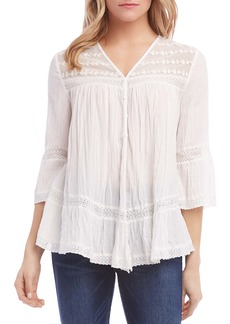Karen Kane Embroidered Lace Inset Top