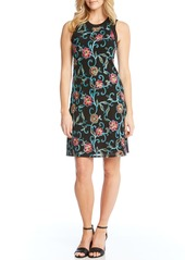 Karen Kane Embroidered Mesh Sheath Dress
