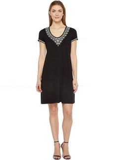 Karen Kane Embroidered T-Shirt Dress
