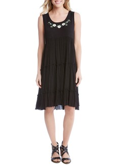 Karen Kane Embroidered Tiered A-Line Dress