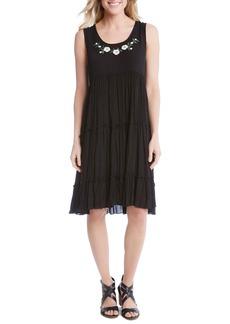 Karen Kane Embroidered Tiered A-Line Dress