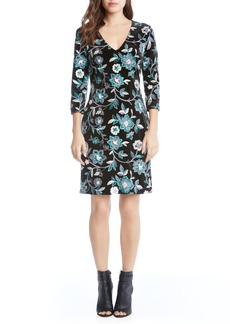Karen Kane Embroidered Velvet Dress