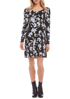 Karen Kane Erin Floral A-Line Long Sleeve Dress