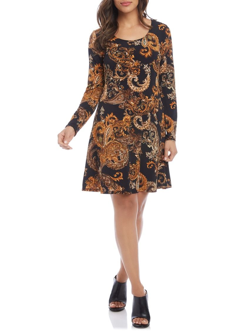 Karen Kane Erin Paisley Print Long Sleeve A-Line Dress