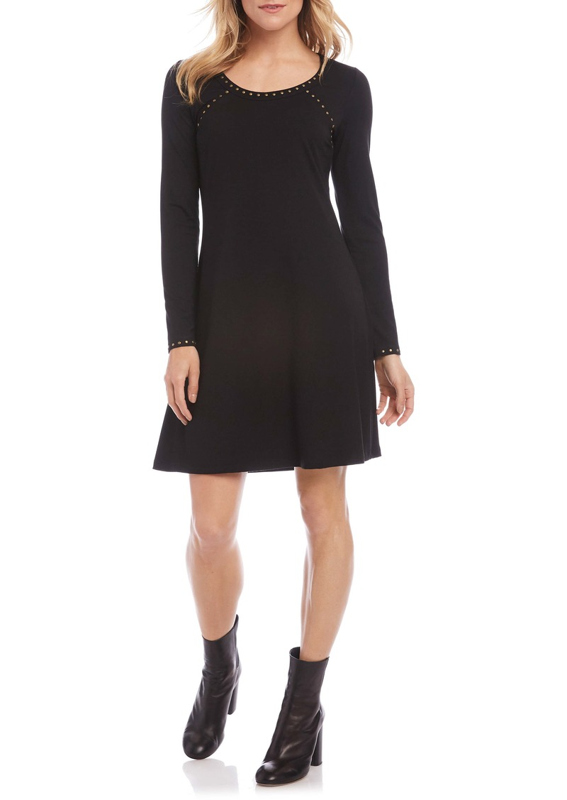 Karen Kane Erin Studded Long Sleeve A-Line Dress