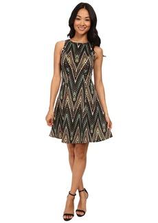 Karen Kane Evergreen Zig Zag Scuba Dress