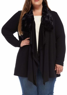 Karen Kane Faux Fur Collar Cardigan Sweater