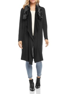Karen Kane Faux-Fur-Collar Open Duster Cardigan