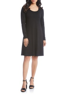 Karen Kane Faux Leather Detail Fit & Flare Dress