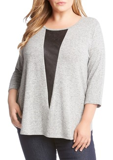 Karen Kane Faux Leather Inset Sweater (Plus Size)