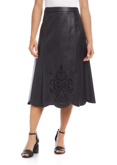 Karen Kane Faux Leather Midi Skirt