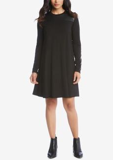 Karen Kane Faux-Leather Trim A-Line Dress