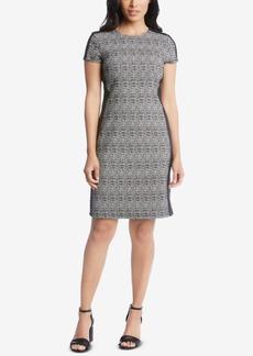 Karen Kane Faux-Leather-Trim Sheath Dress