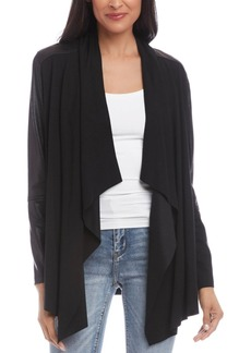 Karen Kane Faux-Leather-Trimmed Draped-Front Jacket