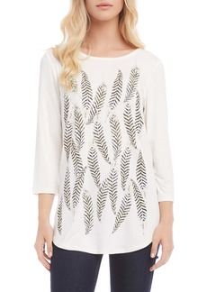 Karen Kane Feather Print Shirttail Tee
