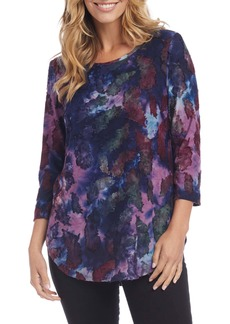 Karen Kane Feather Tie-Dye Jacquard Shirttail Tee