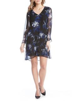 Karen Kane Flare Sleeve Print Chiffon Dress