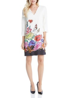 Karen Kane Floral Border Shift Dress