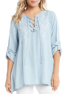 Karen Kane Floral Embroidered Lace-Up Chambray Top