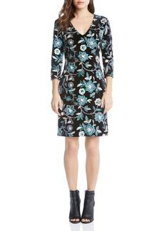 Karen Kane Floral Embroidered Velvet Sheath Dress