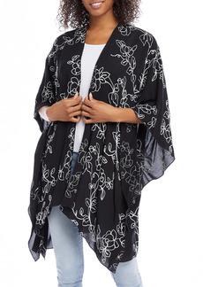 Karen Kane Floral Embroidery Open Front Jacket