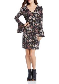 Karen Kane Floral Print Bell Sleeve Dress