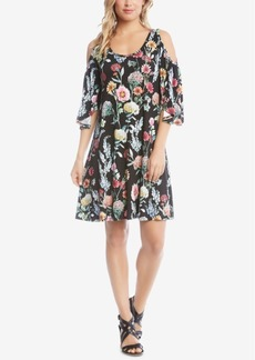 Karen Kane Floral-Print Cold-Shoulder Dress