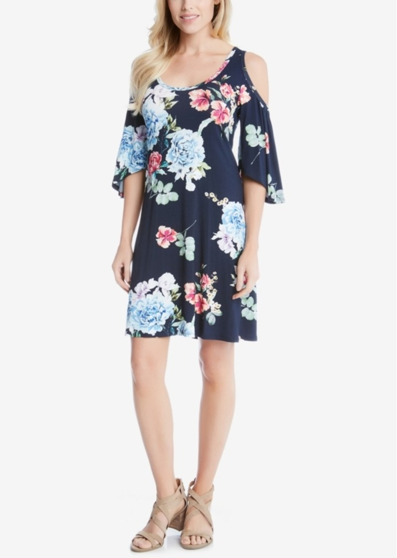 Karen Kane Floral-Print Cold-Shoulder Shift Dress
