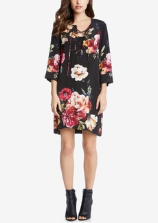 Karen Kane Floral-Print Lace-Up Dress