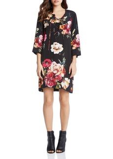 Karen Kane Floral Print Lace-Up Shift Dress