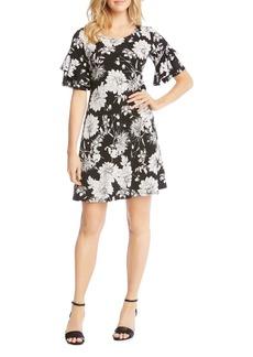 Karen Kane Floral-Print Ruffle-Sleeve Dress
