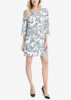 Karen Kane Floral-Print Split-Neck Shift Dress