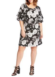 Karen Kane Floral Ruffle Sleeve Shift Dress (Plus Size)