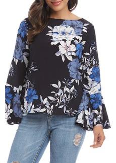 Karen Kane Floral Ruffle Sleeve Top