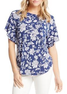 Karen Kane Floral Ruffle-Sleeve Top