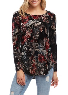 Karen Kane Floral Velvet Burnout Long Sleeve Top