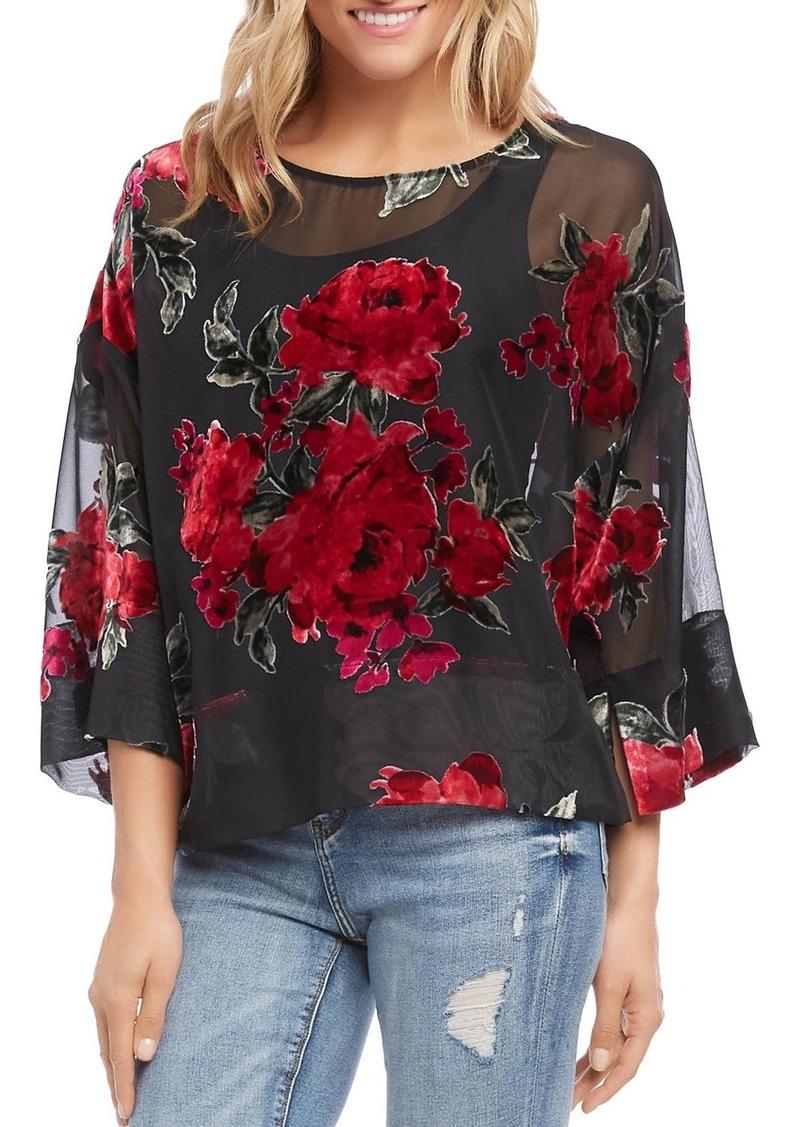 Karen Kane Floral Velvet-Burnout Top